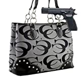 Gray Studded Signature Conceal and Carry Purse