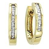 10K White Gold 1/5 ct. Diamond Huggie Earrings