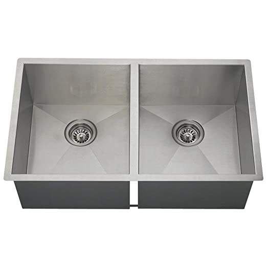 MR Direct 3322D 16-Gauge Undermount Double Equal Rectangular Stainless Steel Kitchen Sink