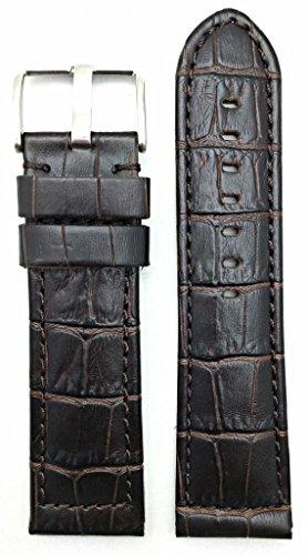 26Mm Long, Panerai Style, Medium Padded, Dark Brown Alli Croco Grained Leather Watch Band