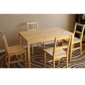 Amazon.com - New Table and 4 Chairs Set Solid Untreated Wood