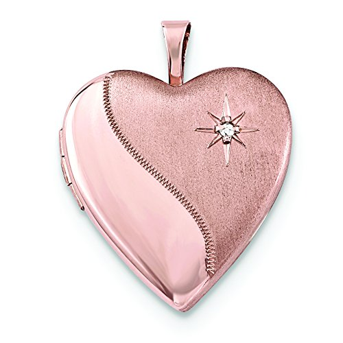 Sterling Silver Rose Gold-Plated 20Mm Diamond Heart Locket