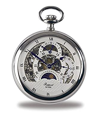 Rapport Pocket Watch PW43 Silver Tone Moon Phase Open Face