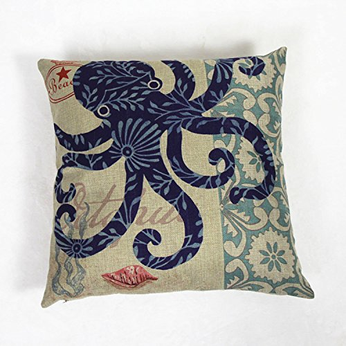 "Luxbon - Octopus Seashore Cotton Linen Sofa Chair Seat Throw Pillow Case Cushion Cover 18 x 18""/45X45CM Insert Not Included"