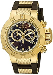 Invicta Subaqua Men's Quartz Watch with Brown Dial Chronograph Display and Multicolour Rubber Strap 5516