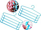 HOKIPO 2 Pieces 4-Bar Trouser Saree Clothing Hangers with Accessory Hooks (Blue)