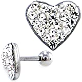 Stunning Silver Surgical steel Crystal Encrusted Heart Tragus, Cartilage Stud Earring 16G 1.2mm x 8mm