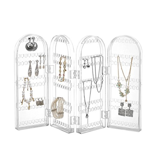 Beautify Jewelry Hanger Organizer - Foldable Acrylic Earring, Necklace & Bracelet Holder Display Screen Stand (Earring Stand Jewelry Display compare prices)