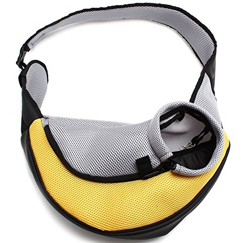 Petown Portable Soft Pet Carrier Shoulder Bag for Dogs and Cats (Yellow Medium Size)