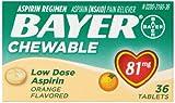 Bayer Chewable Aspirin Low Dose 81mg Orange Flavor 36 count