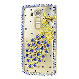 LG K7 Case, Sense-TE Luxurious Crystal 3D Handmade Sparkle Diamond Rhinestone Clear Cover with Retro Bowknot Anti Dust Plug - Pretty Peacock / Blue