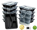 Green Direct Fantastic 3-compartment Wavy Lengthwise Microwave Safe Food Containers with Lids /Divided Plate/bento Box/lunch Tray with Cover, Use for 21 Day Fix, Meal Prep and Portion Control, Black Bottom with Clear Cover Pack of 10