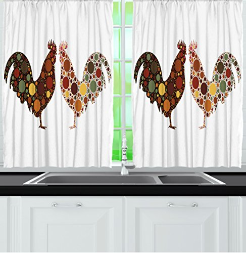 Kitchen Curtains By Ambesonne, Rooster In Polka Dots