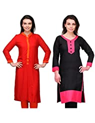 Cenizas Women's Cotton Black Kurtas Pack Of 2 ( 2143BLK & 9031RED)