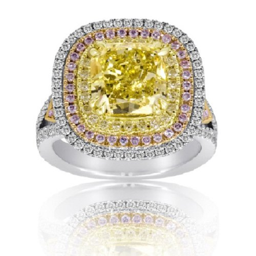6.15 CT Fancy Yellow and Pink Diamond Diamond Ring (FYCU 4.02ct, RD 0.67ct, Pink 0.57ct, FYRD 0.89ct)