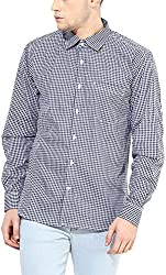 Y.U.V.I. Men's Cotton Regular Fit Casual Shirt (11113051-L, Navy & White, Large)