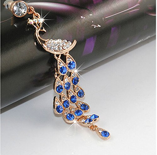 S&C Bling Rhinestone Peacock Crystal Anti-dust Plug Headphone Jack Plug For iPhone iPad iPod Samsung Galaxy Series Of 3.5mm Ear Jack - Blue (Blue Dust Plug compare prices)