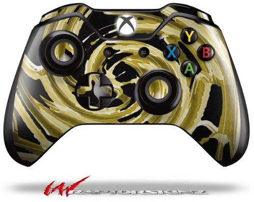 Alecias Swirl 02 Yellow - Decal Style Skin fits Microsoft XBOX One Wireless Controller wood grain oak 01 holiday bundle decal style skin set fits xbox one console kinect and 2 controllers xbox system sold separately