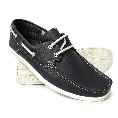 Navy Deck Shoe NEW SHAPE Flat Sole Low Square Toe 10