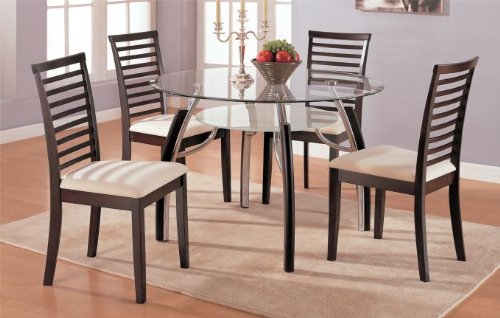 Cheap Dining Table with 8mm Beveled Glass Top and 4 High Back Fabric Seat Chairs #PD F21188,f11011 (f2188,f1011)