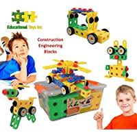 Educational Toys Construction Engineering Blocks By ETI Toys For Boys And Girls 85 Piece Set For Building Endless...