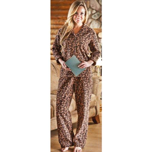 Women'S Guide Gear Print Pj Set, Leopard, Lg