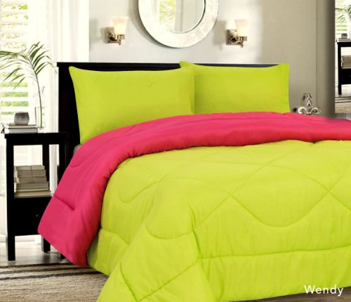 Down Alternative Reversible Comforter Lime/Hot Pink - Twin front-934431