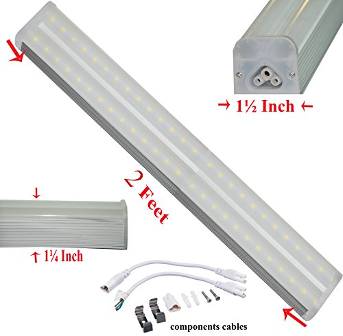SleekLighting T5 LED Double Bar Tube Lighting 2-ft Frosted Cover 15 Watt 5500K No Ballast Fixture Link Up To 6 Together Interior Lights Garage Closet Workshop Kitchen Dorm Accessories