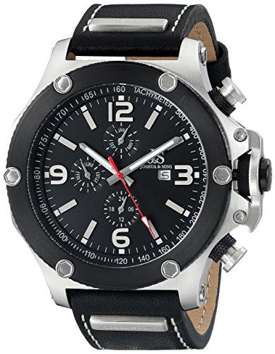 Joshua & Sons Reloj con movimiento cuarzo suizo JS75SSB 48 mm