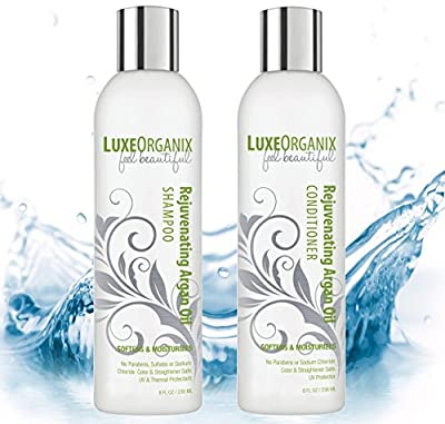 Moroccan Argan Oil Shampoo and Conditioner Free of Sulfates Parabens Sodium Chloride - Proven to Protect + Enhance Curly, Fine, Colored, Straightened Hair; Eliminates Frizz, Dry Itchy Dandruff Scalp