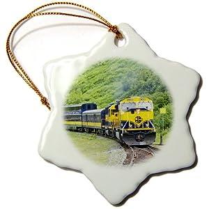 3dRose Orn_45613_1 Alaska Railroad Train Runs Through Beautiful Scenery Between Anchorage and Seward Alaska Snowflake Decorative Hanging Ornament, Porcelain, 3-Inch