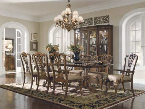 Kentwood Double Pedestal Table Set with Queen Anne Chairs by Universal Furniture