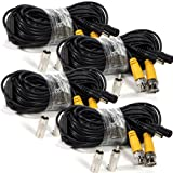 Masione™ 4pack 50 Feet Security Camera BNC RCA Connector Video Power Extention Cable CCTV Surveillance DVR System Cord Wire