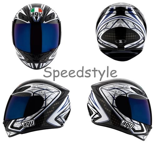 AGV K4 Sliver Motorcycle Helmet Black/Blue Medium