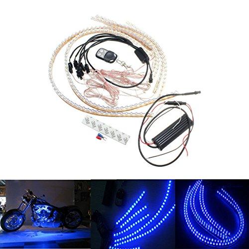 AUDEW 6pcs 12V LED Bande Strip Flexible Kit Intérieur Atmosphère Lampe Etanche Pour Voiture Moto ATV