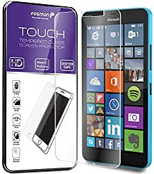 Fosmon Microsoft Lumia 640 XL Tempered Glass Screen Protector - TOUCH 0.26mm ULTRA THIN (Shatter Proof | Oleophobic Coating) HD Clear Glass Screen Protector for Microsoft Lumia 640 XL - 1 Pack