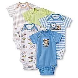 Gerber Baby Boys' 5-Pack Onesie Set - Tan & Blue (3-6 Months)