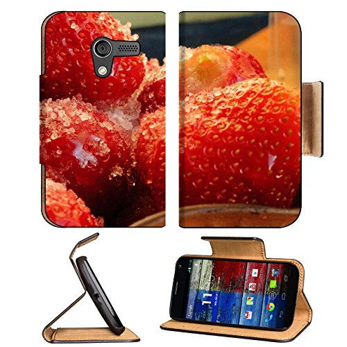 Frozen Strawberries Tasty Fruit Macro Motorola Moto X Flip Case Stand Magnetic Cover Open Ports Customized Made To Order Support Ready Premium Deluxe Pu Leather 5 7/16 Inch (138Mm) X 3 1/16 Inch (78Mm) X 9/16 Inch (14Mm) Luxlady Mobility Cover Professiona front-970880