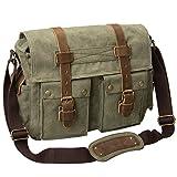 Peacechaos®Leather Canvas Shoulder Bookbag Laptop Bag + Dslr Slr Camera Canvas Shoulder Bag (Army Green)
