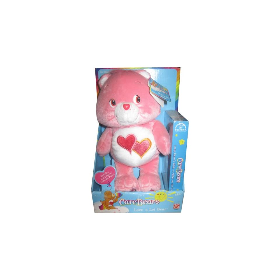 10 Care Bears Plush   Love a Lot Bear with VHS Video