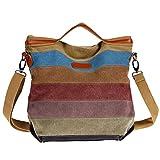 Unives Tissu Sac à main Toile sac d'épaule Sacs portés épaule femme Hobo fourre-tout sacs hobo sacs à la mode Rainbow...