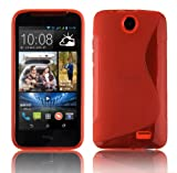 Cadorabo ! S-Line TPU Bumper Silicon cover for HTC Desire 310 (D310w) in red