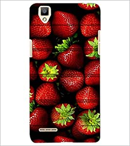 PrintDhaba Strawberries D-3426 Back Case Cover for OPPO F1 (Multi-Coloured)