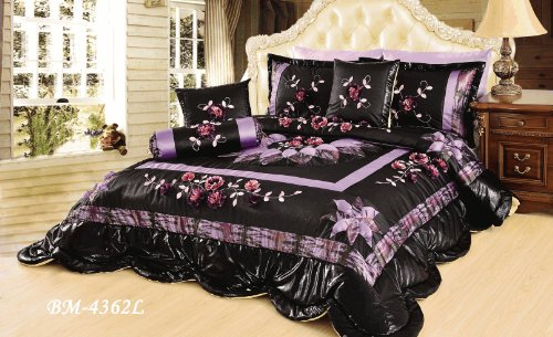 Tache 6 Piece Midnight Lily Pond Patchwork Comforter Set With Elegant Ribbon Accents, Queen front-120073