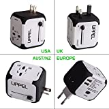 Travel Plug Uppel All-in-one Worldwide Travel Adapter and Converter for US EU UK AU about 150 countries Wall Universal Power Plug Adapter Charger with Dual USB and Safety Fuse(White)