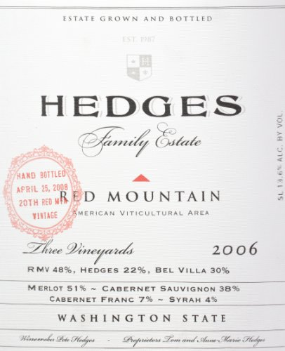 2006 Hedges Family Estate Red Mountain Red Blend Limited Edition Large Format 5 L