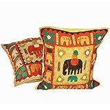 Elephant Patch Work Design Cushion Covers Pair Set 801