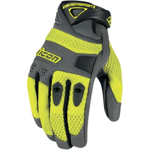 Icon Anthem Men's Leather/Mesh Streetbike Motorcycle Gloves - Yellow / Large