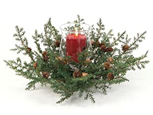 """Pack of 2 Christmas Greens Glass Globe & Pine Pillar Candle Centerpieces 16"""""""