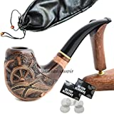 """Pear Wood Hand Carved Tobacco Smoking Pipe """"Pirate"""" + Pouch"""